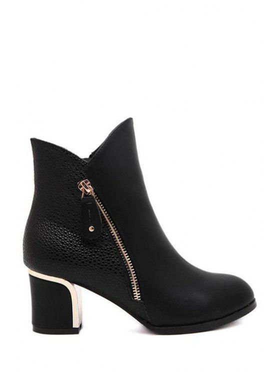 unique Patchwork Zipper Metal Ankle Boots - BLACK 35