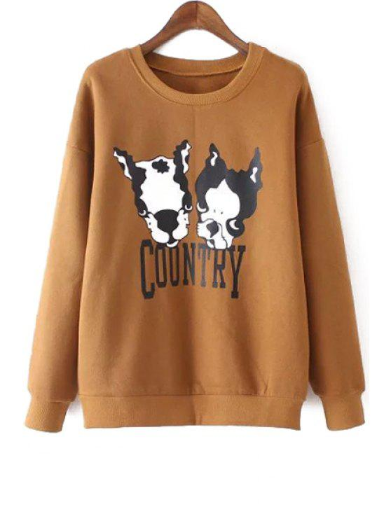trendy Long Sleeve Puppy Print Sweatshirt - DARK KHAKI M