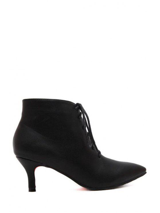 hot Pure Color Zipper Pointed Toe Ankle Boots - BLACK 34