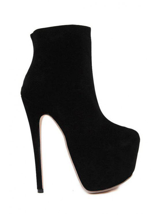 lady Black Platform Suede High Heel Boots - BLACK 35