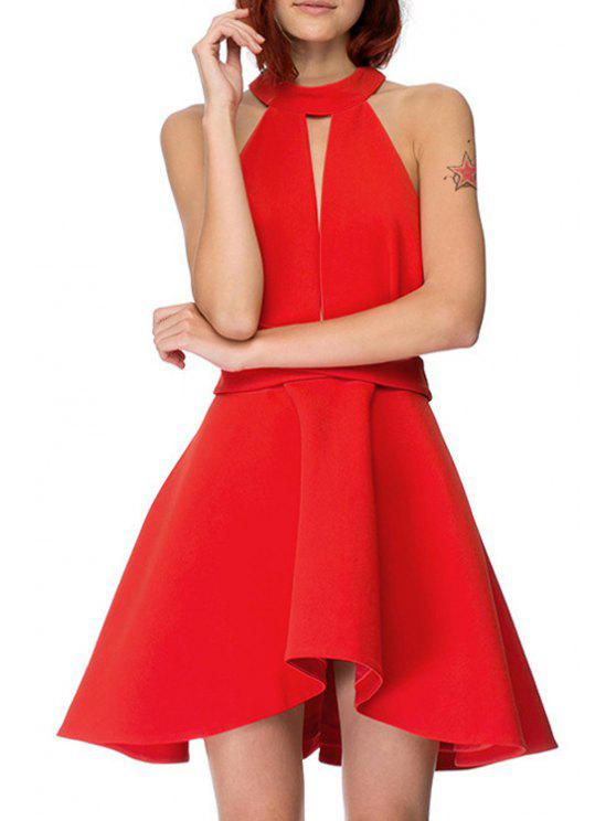Trendy Solid Color Backless Cut Out Keyhole Neckline Dress Red M