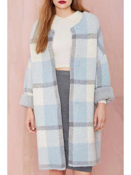 lady Plaid Single-Breasted Overcoat - LIGHT BLUE S