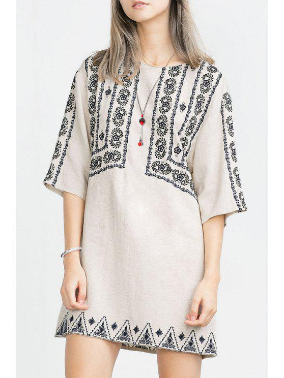 sale Half Sleeve Embroidered Straight Dress - WHITE S