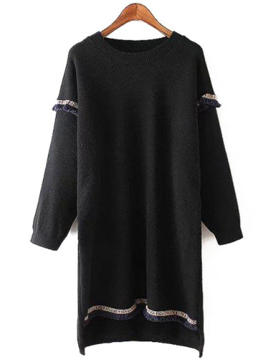 lady Round Neck Fringed Sweater Dress - BLACK ONE SIZE(FIT SIZE XS TO M)