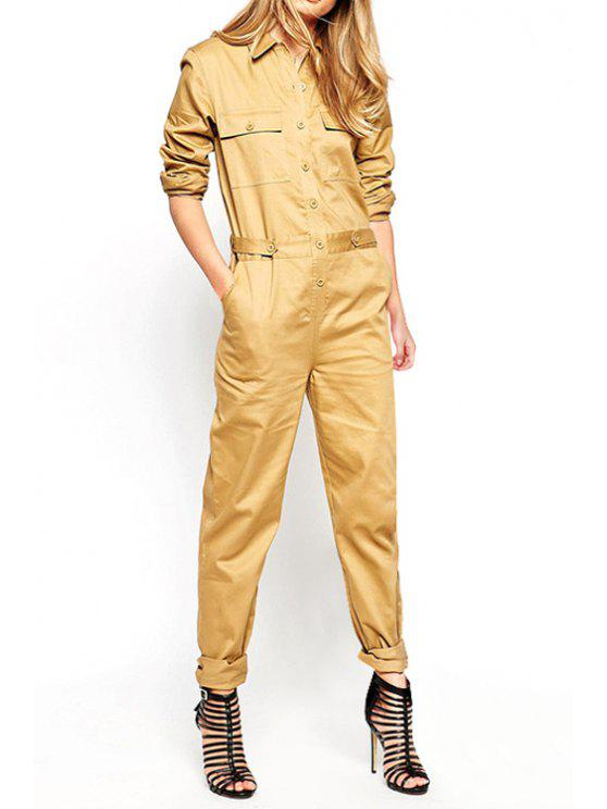 outfits Solid Color Waisted Flat Collar Long Sleeves Jumpsuit - KHAKI XS