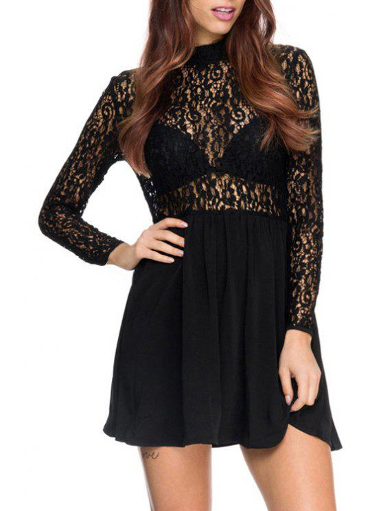 online Lace Splicing Stand Neck Long Sleeve Dress - BLACK S