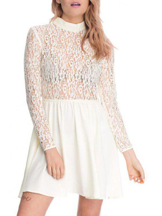 unique Lace Splicing Stand Neck Long Sleeve Dress - WHITE L