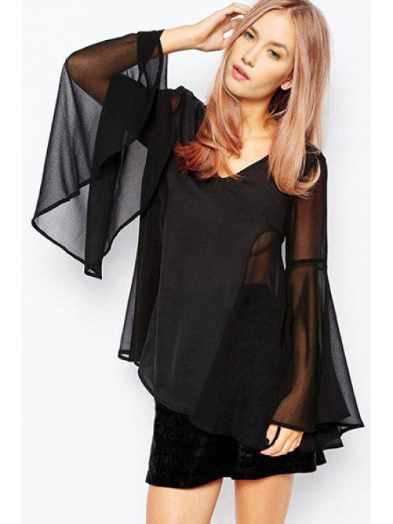 chic Black V Neck Long Sleeve Chiffon Blouse - BLACK S