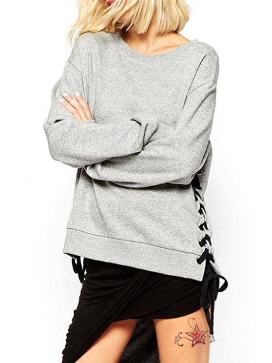 affordable Lace-Up Solid Color Long Sleeves Sweatshirt - GRAY S