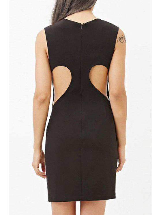 fancy Cut Out Sleeveless Bodycon Dress - BLACK S