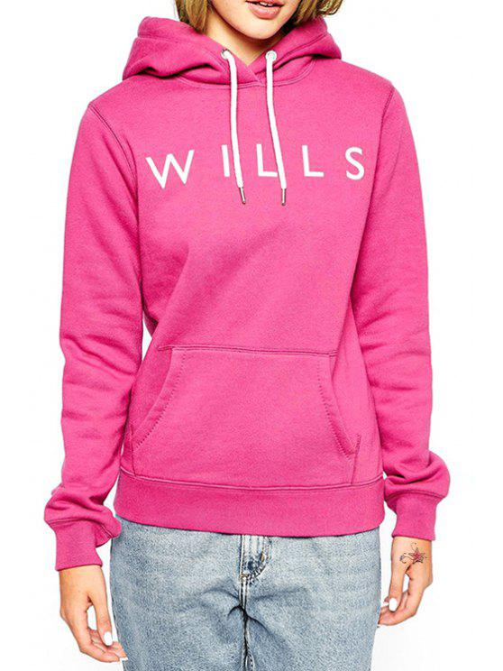 fashion Hooded Neck Long Sleeves Letter Print Hoodie - ROSE XS