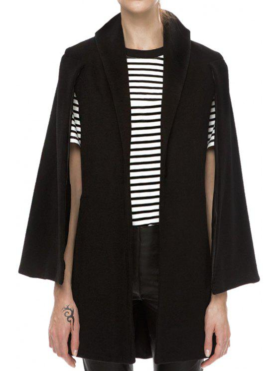 ladies Solid Color Loose Fitting Turn-Down Collar Cape Coat - BLACK XS