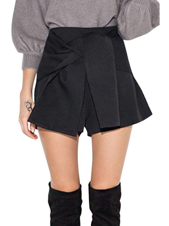 sale High-Waisted Solid Color Sashes Shorts - BLACK XS