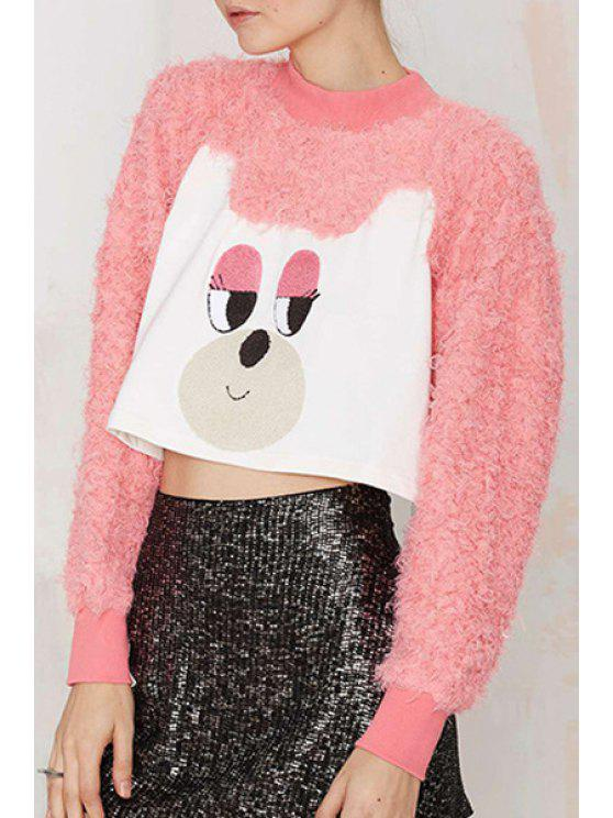 latest Cute Embroidery Print Stand Collar Long Sleeevs Sweatshirt - PINK XS