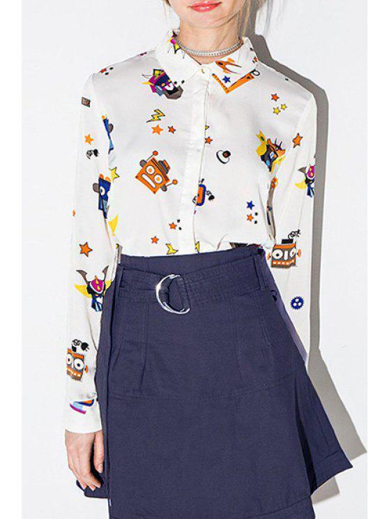 sale Cute Robot Print Flat Collar Long Sleeves Shirt - WHITE XS
