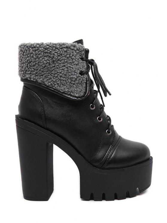 769cb594da54 women s Black Platform Lace-Up High Heel Boots - BLACK 36