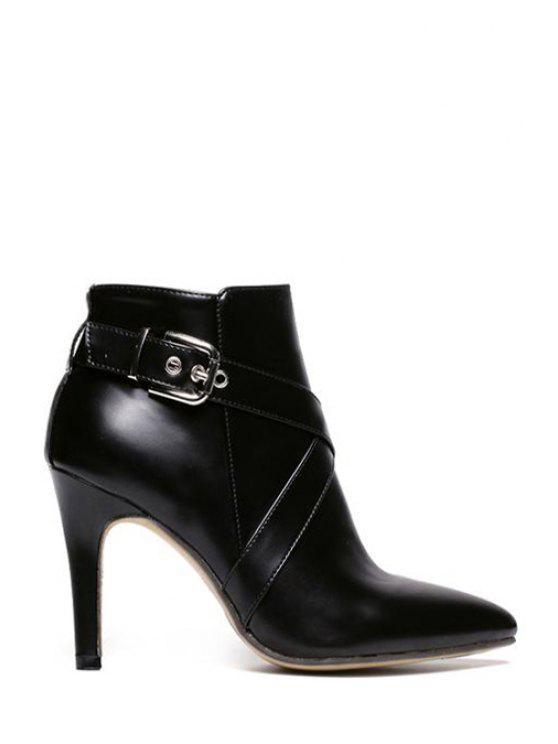 online Black Buckle Cross Straps High Heel Boots - BLACK 35
