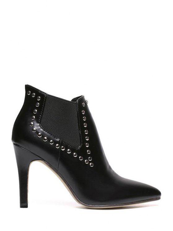 shop Black Rivets Elastic High Heel Boots - BLACK 35