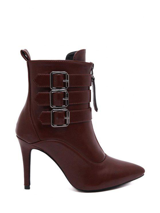 women's Zipper Metallic Buckles High Heel Boots - WINE RED 38