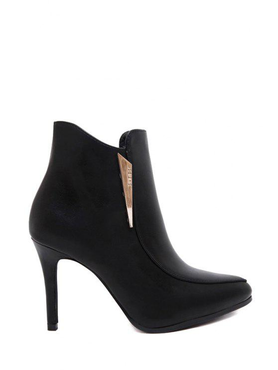 chic Zipper Stiletto Pointed Toe Ankle Boots - BLACK 35
