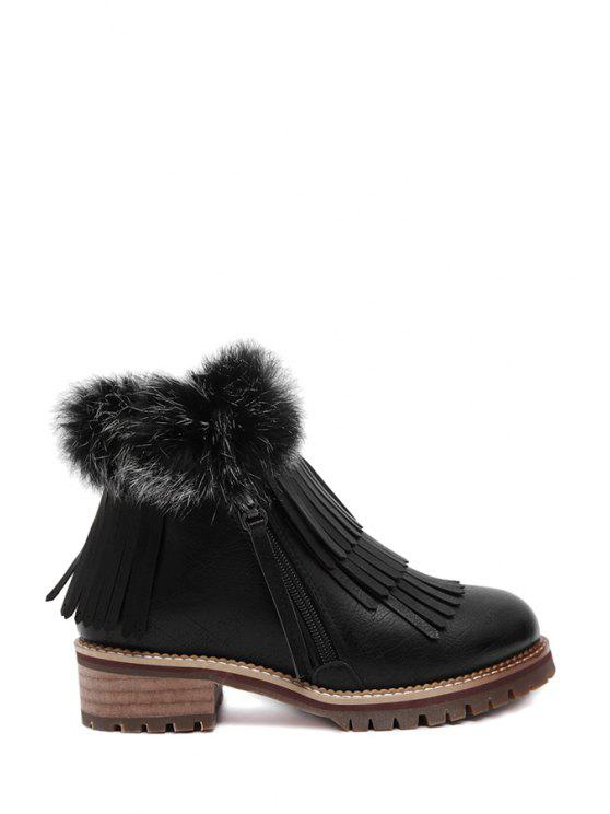 hot Fringe Zipper Faux Fur Ankle Boots - BLACK 35