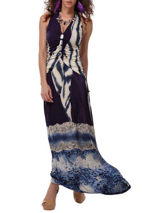 lady Halter Rhinestoned Ruched Prom Dress - PURPLE S
