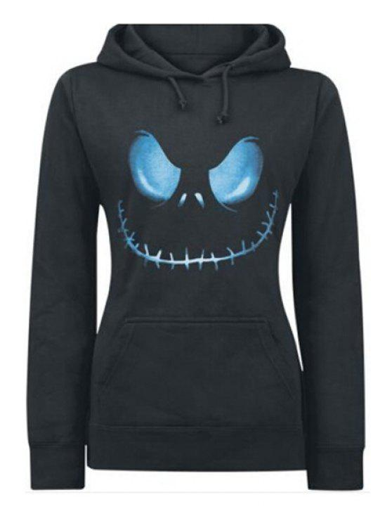 womens Front Pocket Printed Pullover Hoodie - BLACK L