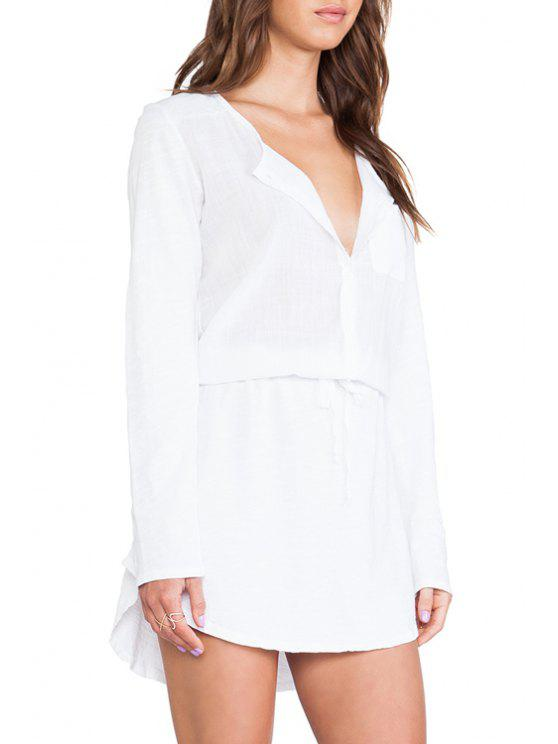 lady Long Sleeve Drawstring White Dress - WHITE S