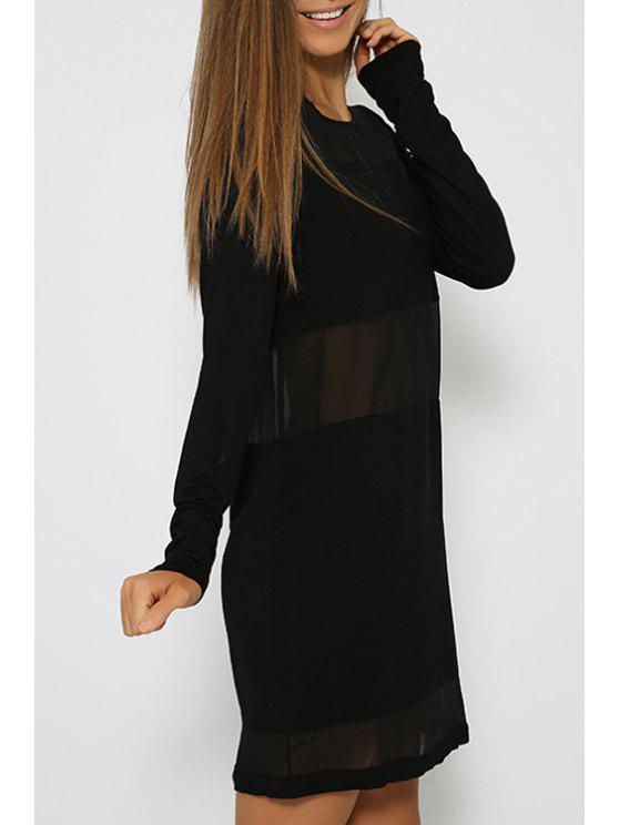 shops Mesh Panel See-Through Black Dress - BLACK S