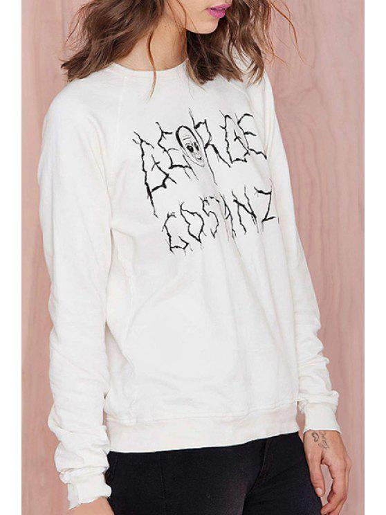 shop Funny Letter Print Loose Fitting Round Collar Sweatshirt - WHITE XS
