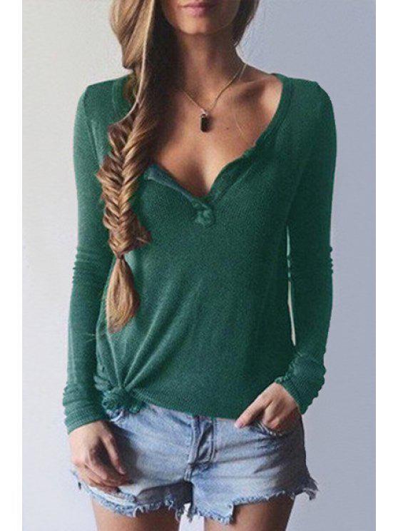 shops Pure Color V Neck Long Sleeve T-Shirt - GREEN S