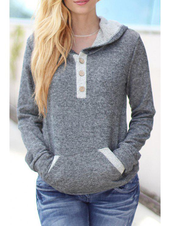 outfit Color Block Long Sleeves Pullover Hoodie - GRAY S