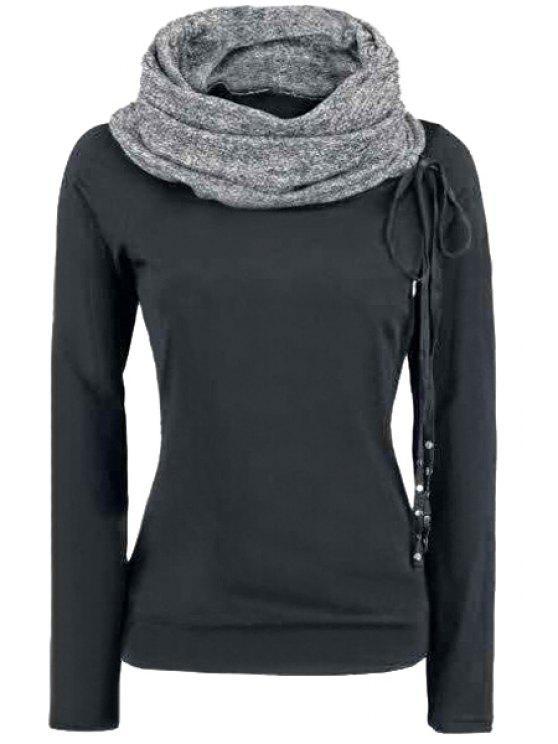 lady Heaps Collar Black Thick Sweatshirt - BLACK S
