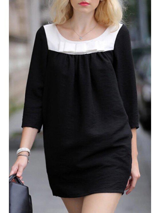 unique Black Convertible Bow Tie 3/4 Sleeves Pregnant Dress - BLACK S