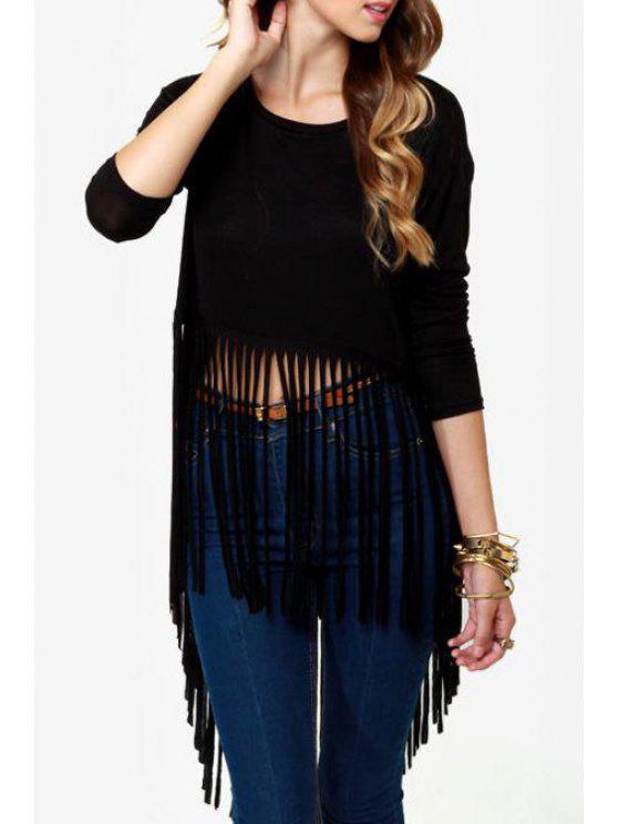 chic 3/4 Sleeve Tassel Black T-Shirt - BLACK M