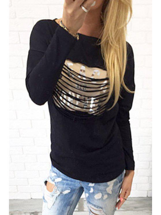 womens Letters Print Scoop Neck Long Sleeve T-Shirt - BLACK S