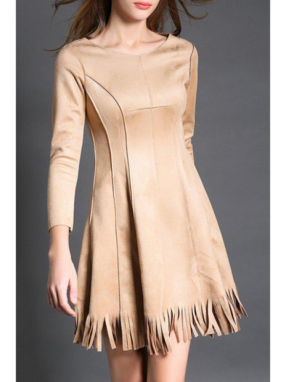 shops 3/4 Sleeve Fringed Suede Dress - KHAKI S