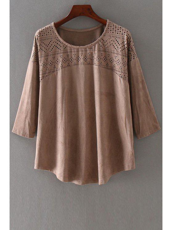 unique Solid Color Hollow Out Round Collar 3/4 Sleeves Blouse - BROWN S