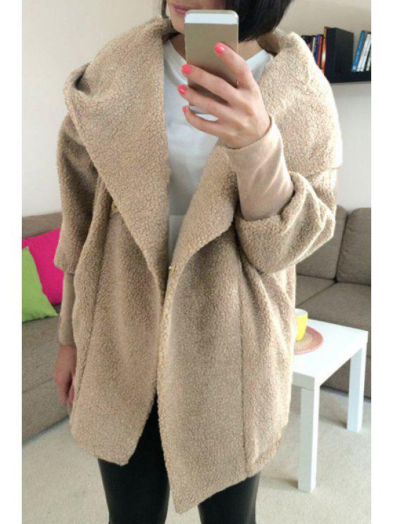 women Faux Lamb Wool Long Sleeve Hooded Coat - COFFEE S