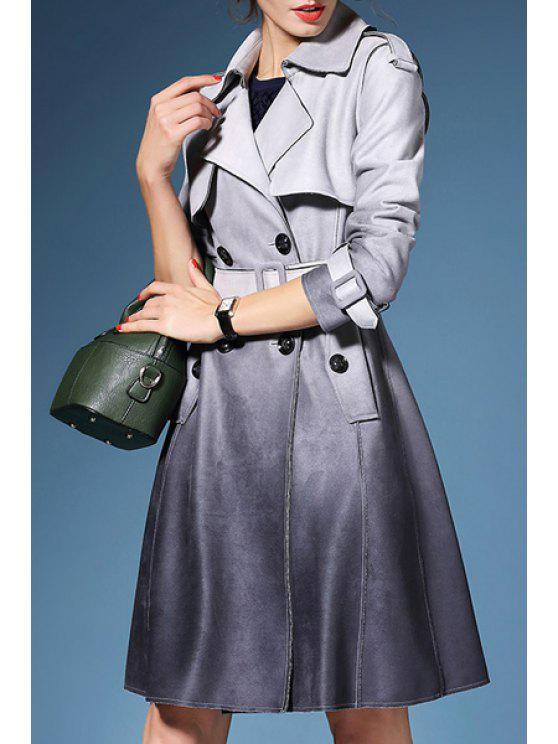 best Ombre Color Double-Breasted Suede Coat - GRAY S