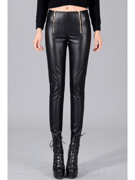 ladies Zippered PU Leather Pencil Pants - BLACK S