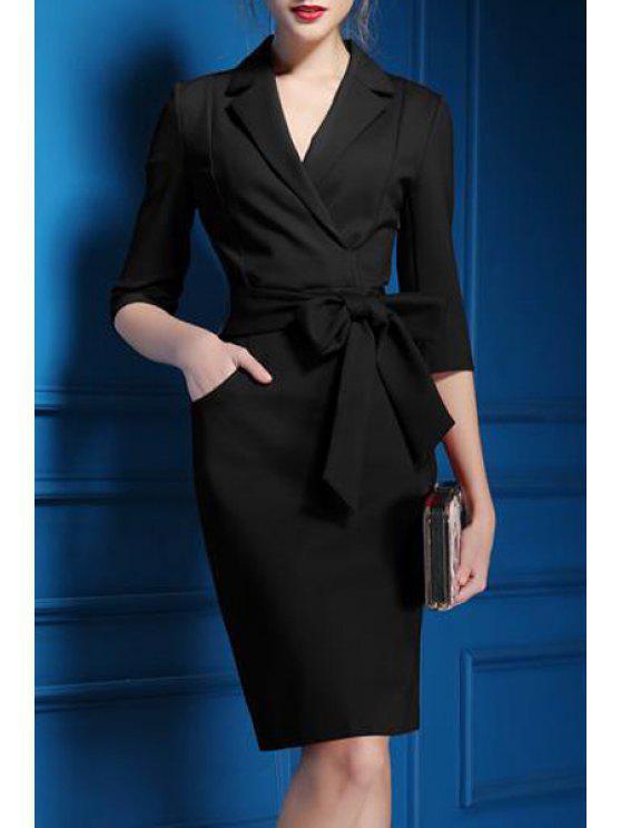 affordable Lapel Self-Tie Belt Midi Dress - BLACK S