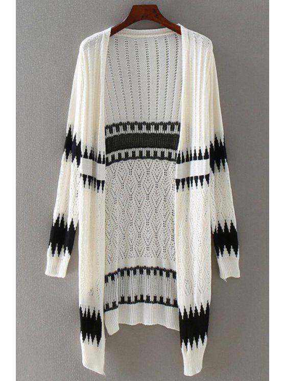 fancy Printed Hollow Out Long Sleeves Long Cardigan - WHITE ONE SIZE(FIT SIZE XS TO M)