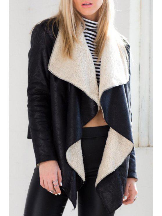 latest Faux Lamb Wool Turn-Down Collar Coat - BLACK S