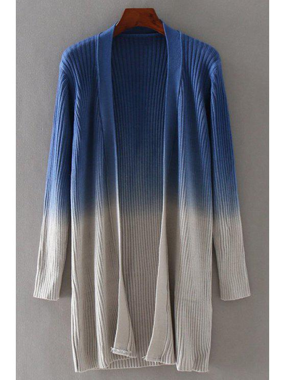 unique Ombre Slimming Long Sleeves Long Cardigan - LIGHT BLUE ONE SIZE(FIT SIZE XS TO M)
