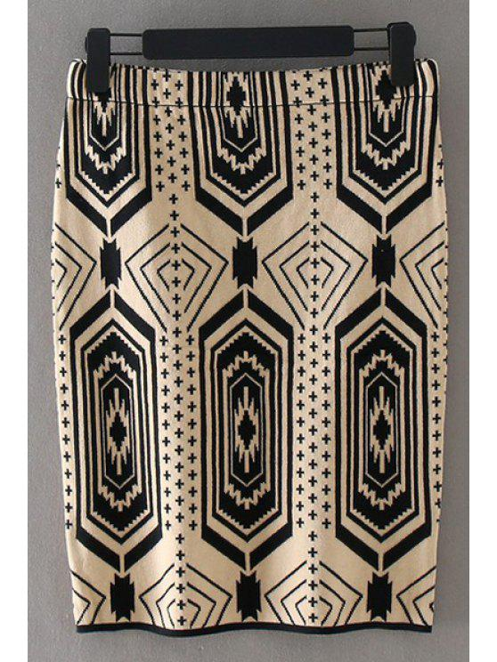 shops Retro Geometric Print Slimming Skirt - KHAKI XL