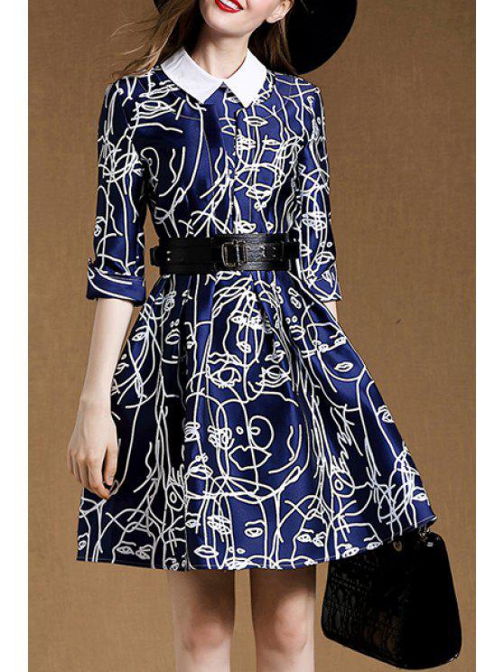 ladies Belted A-Line Blue Dress - BLUE XL