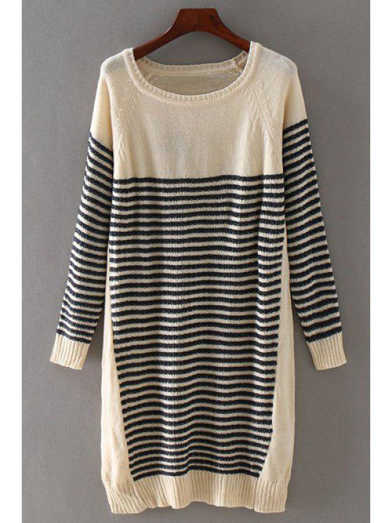sale Long Striped Round Collar Long Sleeves Sweater - KHAKI ONE SIZE(FIT SIZE XS TO M)