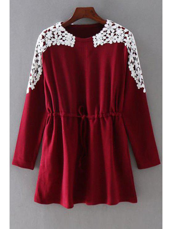latest Drawstring Lace Spliced Round Collar Long Sleeves Dress - WINE RED 2XL