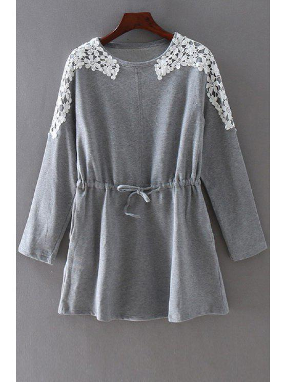 unique Drawstring Lace Spliced Round Collar Long Sleeves Dress - GRAY 3XL